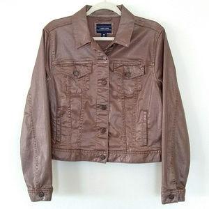 Lands' End Denim Jacket Metallic Medium 10-12